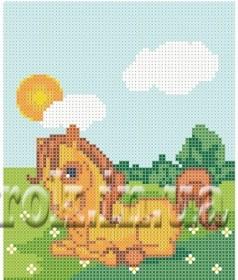 Рисунок на ткани для вышивки бисером Пони на лугу Княгиня Ольга СД-123 - 24.00грн.