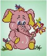 Рисунок на ткани для вышивки бисером Розовый слонёнок