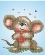 Рисунок на ткани для вышивки бисером Мышка с сердечком