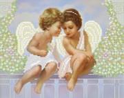 Рисунок на ткани для вышивки бисером Ангелочки