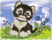 Рисунок на ткани для вышивки бисером Любопытный котик