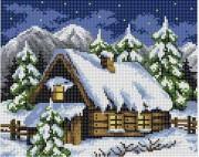 Рисунок на ткани для вышивки бисером Зимова хатинка