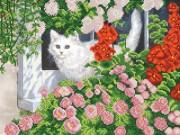 Рисунок на ткани для вышивки бисером Кошка на окошке