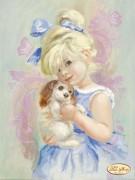 Рисунок на ткани для вышивки бисером Девочка с собачкой