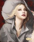 Рисунок на ткани для вышивки бисером Девушка в шляпе
