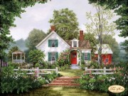 Рисунок на ткани для вышивки бисером Уютный домик