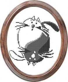 Рисунок на ткани для вышивки бисером Котофеи Инь и Янь, , 50.00грн., ТМ-010, Tela Artis (Тэла Артис), Схемы и наборы для вышивки бисером по Фен шуй