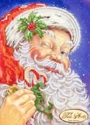 Рисунок на ткани для вышивки бисером Дед Мороз