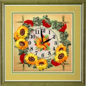 Набор для вышивки лентами Часы. Гроздья калины, , 342.00грн., ЧНЛ-2002, Марiчка (Маричка), Вышивка лентами