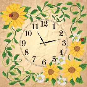 Рисунок на ткани для вышивки бисером Часов Солнечные цветы, , 92.00грн., ЧКБ-3002, Марiчка (Маричка), Часы