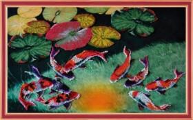 Набор для вышивки бисером Кои на счастье, , 561.00грн., Р-186, Картины бисером, Схемы и наборы для вышивки бисером по Фен шуй