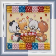 Набор для вышивки бисером Мишки и корзина